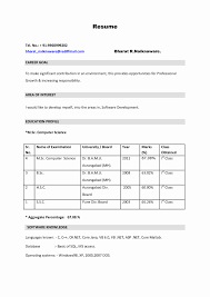 Resume Format For Mca Student Mca Fresher Resume Format Unique How To Make A Cv Resume For 9