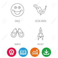 Rocket Social Media And Search Icons Smiling Face Linear Sign