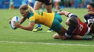 emma tonegato of australia dives to score the try against carmen farmer of the united states