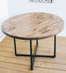 reclaimed wood round coffee table with pipe base home furniture iron and southern 1 0 dsc