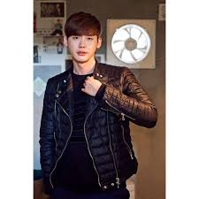 lee jong suk quilted style black men s jacket quilted leather jackets