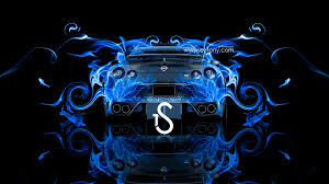 nissan gtr r35 back view fire abstract car