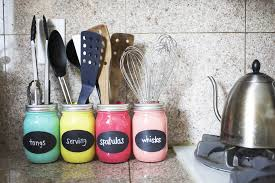 Kitchen Utensil Storage Kitchen Kitchen Storage Hack With Colorful Light Diy Manson Jar