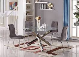 vogue large round circular chrome metal clear glass 6 seater dining table only