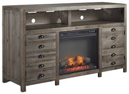 rustic gray brown pine tv stand with electric fireplace insert