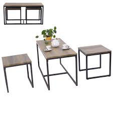 costway 3 piece nesting coffee end table set wood modern living room furniture decor 0