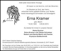 Traueranzeigen von Erna Kramer   Aachen gedenkt