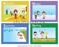 Chart On Winter Season Vector Illustration Seasons Seasonal Chart Year Stock Vector