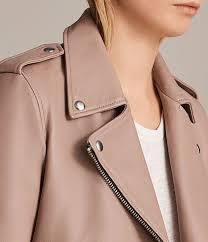 allsaints blush pink women s balfern leather biker jacket