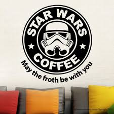 removable star wars coffee parody starbucks wall decal stickers vinyl home decor room mural sticker gw 48 in wall stickers from home garden on  on starbucks coffee wall art with removable star wars coffee parody starbucks wall decal stickers