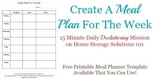 dinner template printable weekly meal planner template