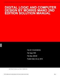 Digital Logic And Computer Design Pdf Digital Logic And Computer Design By Morris Mano 2nd Edition