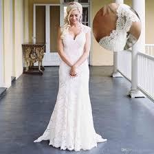 ivory lace mermaid wedding dresses short sleeves v neck western