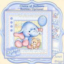 instant card making downloads new baby boy elephant 8x8 decoupage kit birthday ages 1 20