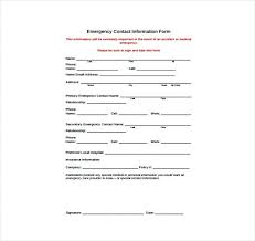 Awesome Image Of Emergency Contacts Form Templates Medical Contact