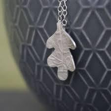 sterling silver watercolour baby oak leaf pendant