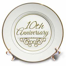 3drose 10th anniversary gift gold text for celebrating wedding anniversaries 10 tenth ten years together porcelain plate 8 inch walmart