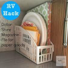 Magazine File Holder Dollar Store RV Hack inexpensive dollar store magazine file for paper goods 3