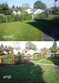 great example of replacing a chain link fence with a prettier wood and hog wire fence