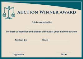Silent Auction Winner Certificate Template Sample Silent Auction