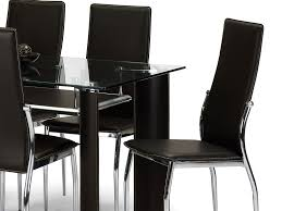 glass dining room table with leather chairs. julian bowen boston 150cm glass dining table and 6 brown faux leather chairs set room with