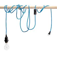 sky blue pendant cord with light bulb socket