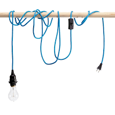 sky blue pendant cord with light bulb socket