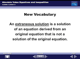 absolute value equations and inequalities algebra 2 lesson 1 5 solve check your answer 7 new voary
