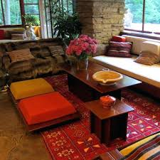Floor Seating Furniture Red And White Cushions On The Carpet Indian