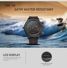 <b>WEIDE</b> luxury <b>watch</b> sport digital <b>Nylon</b> strap Black round large dial ...