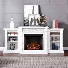 southern enterprises gallatin 71 inch electric fireplace w bookcases white w white faux stone fe8526 gas log guys