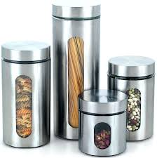 accessories for kitchen decoration using round cylinder stainless steel clear glass modern canister sets plastic rou