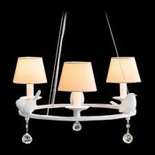 white soft metal round band three fabric shades bold design chandelier hanging sparkling crystal globes