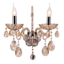 2 light crystal candle wall sconces for foyer antique