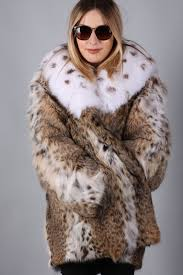 bobcat lynx fur coat women s fox collar us cites approved pelzmantel