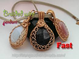 braided wire pendant with large stones without holes fast version 353