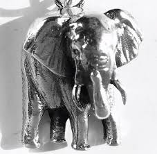 large elephant pendant with necklace sterling silver