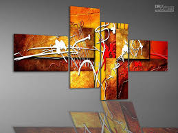 Hand-painted Hi-Q abstract oil-painting on canvas--bright flowing light and  color2 4pcs/set framed