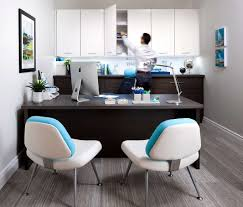 Decorations:Chic Home Office Space Decor With Corner White Modern Computer  Desk And Yellow Contemporary