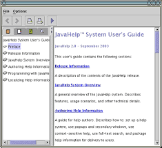 creating an online help system javahelp and docbook o  screenshot of javahelp