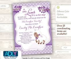 baby girl invite purple little lamb african american girl baby shower invitation for a new baby girl printable sheep lamb card brown lavender
