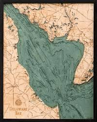 Delaware Bay Wood Carved Topographic Depth Chart Map