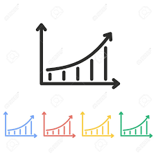 White Growth Chart Growth Chart Vector Icon Illustration Isolated On White Background