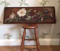 antique victorian c19th painted wood decorative wall panel vintage painting