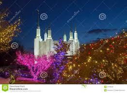Mormon Tabernacle Washington Dc Christmas Lights Washington Mormon Temple With Christmas Lights Stock Photo