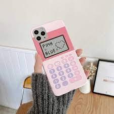 Sevimli pembe Retro mor hesap makinesi aşk telefon kılıfı için iPhone 7 8  artı 11 12 mini Pro X Xs Max xr kapak güzel Fundas|Phone Case & Covers