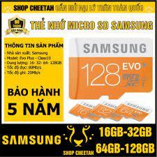 Thẻ nhớ MicroSD SamSung 128GB/64GB/32GB/16GB – Evo Plus Class 10 – CHÍNH  HÃNG – Kèm Adapter – Bảo hành 5 năm