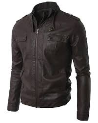 brown men slim fit pu leather jacket t4