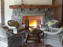 wicker chair and fireplace