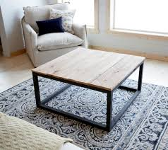 ... Rectangle Industrial Style Unfinished Wood Top And Steel Frame Coffee  Table DIY Design Ideas ...